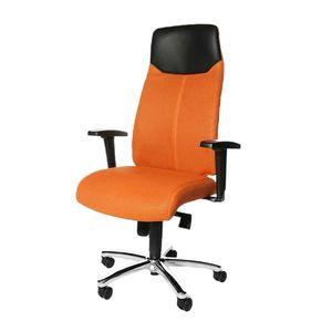 Chefsessel High Sit up - Ergonomisch/Lederkopfstütze - Orange, Topstar