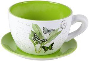 Pflanzgefäß - Tasse mit Schmetterling - aus Keramik - 23 x 19 x 12,5 cm