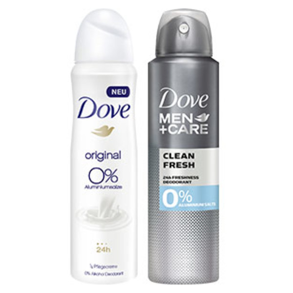 Dove Deo Spray oder Roll on versch. Sorten, jede 150-ml-Dose/jeder 50-ml-Roll on