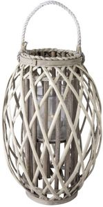 Windlicht - mit grauer Weide ummantelt - 17 x 41 cm