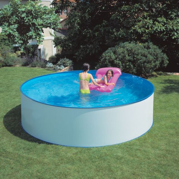 Gre lanzarote dream pool rund stahlwandbecken set 350 x for Gartenpool netto