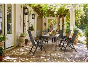 FLORABEST® Geflecht-Gartenmöbelset 7-teilig mit Klappsesseln, grau