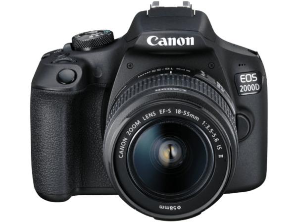 CANON EOS 2000D Kit Spiegelreflexkamera, 24.1 Megapixel, Full HD, CMOS Sensor, Near Field Communication, WLAN, 18-55 mm Objektiv (EF-S, IS II), Autofokus, Schwarz