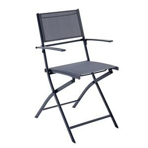 OUTDOOR klappbarer Stuhl /Klappstuhl mit Armlehnen XENIO Stahl/Textilene Dunkelgrau/Dunkelgrau
