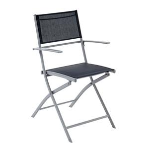 OUTDOOR klappbarer Stuhl /Klappstuhl mit Armlehnen XENIO Stahl/Textilene Hellgrau/Dunkelgrau