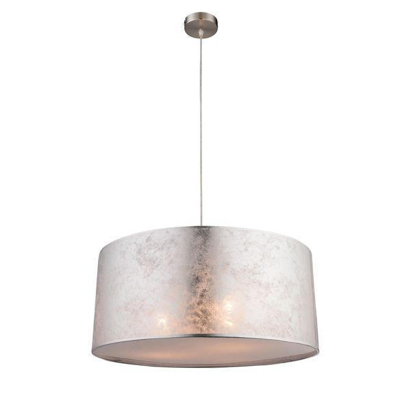 EEK A++, Pendelleuchte Amy I - Webstoff / Metall - 3-flammig - Silber / Nickel, Globo Lighting