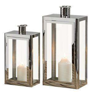 Laterne Visby (2er-Set) - Edelstahl / Glas - Silber, reconcept