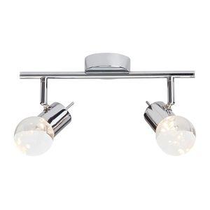 EEK A+, LED-Deckenleuchte Lastra 2-flammig - Silber Metall, verchromt, Brilliant