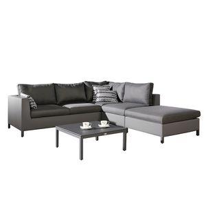 Sitzgruppe Trinidad Lounge (4-teilig) - Webstoff / Kunststoff - Anthrazit, Best Freizeitmöbel