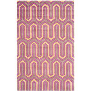 Teppich Leta handgetuftet - Wolle - Taupe / Pink - 152 x 243 cm, Safavieh