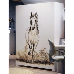 Kleiderschrank WHITE HORSE Weiß Nachbildung ca. 150 x 200 x 59 cm