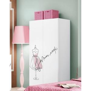 Kleiderschrank Weiß/Rosa ca. 100 x 200 x 55 cm