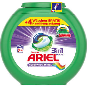 Ariel 3in1 PODS Colorwaschmittel 54+4 WL 0.22 EUR/1 WL