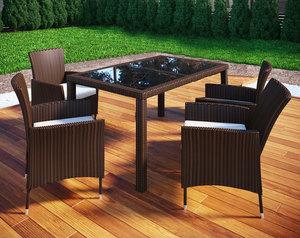 VCM Rattan Set Tisch, 9-tlg., braun