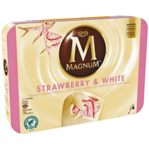 Magnum Strawberry White Familienpackung Eis 4x110ml