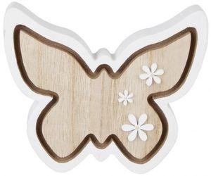 Deko-Schmetterling - aus Holz - 12,5 x 11 x 2 cm