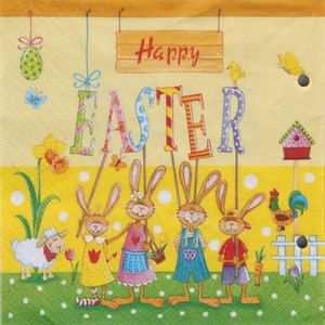 20 Servietten - 3-lagig - Happy easter - 33 x 33 cm