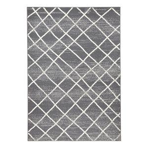 Teppich Rhombe - Kunstfaser - Grau / Creme - 140 x 200 cm, Zala Living