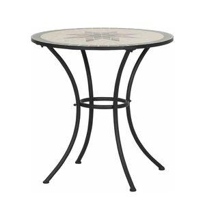 Gartentisch Stella - Eisen/Keramik - Schwarz/Mosaik - Durchmesser: 70 cm, Siena Garden