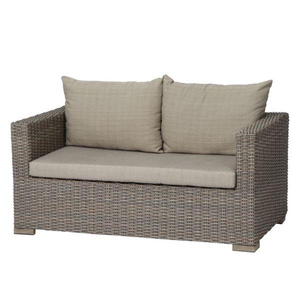 Lounge Sofa Veneto 2 Sitzer Polyrattan Webstoff Hellbraun Hellbeige Siena Garden von