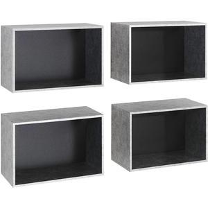CARRYHOME Regalkisten Silver Plate Folie Grau