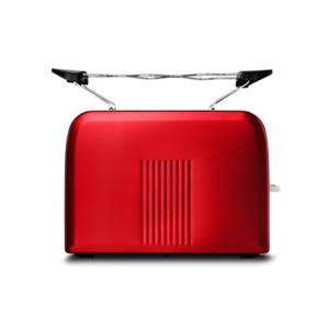 MEDION Edelstahl-Toaster MD 16232, Edelstahlgehäuse, 870 Watt, Aufwärm-, Auftau- und Stopptaste, Bräunungsgrad-Regler, rot