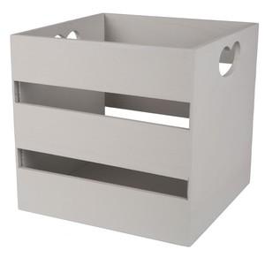 Holzbox mit Herzverzierung grau klein