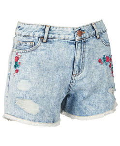 YKK - Shorts - Denim, bestickt