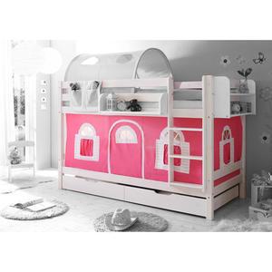TICAA Etagenbett ´´Marcel´´ Landhausstil pink-weiß, weiß lackiert