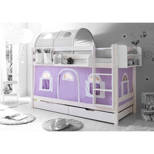TICAA Etagenbett ´´Marcel´´ Landhausstil lila-weiß, weiß lackiert