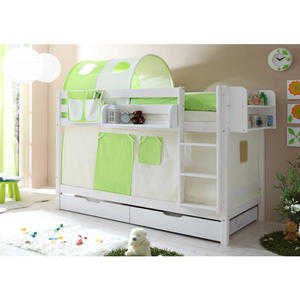 TICAA Etagenbett ´´Marcel´´ Grün-Beige, weiß lackiert