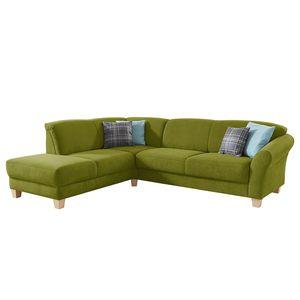 Ecksofa Cebu Webstoff - Ottomane davorstehend links - Sitzvorzug mit Sitztiefenverstellung - Grasgrün, Maison Belfort