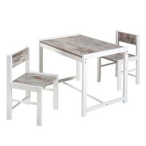 Kindersitzgruppe Sammy (3-teilig) - Buche massiv - Weiß/Shabby Chic Dekor, Schardt
