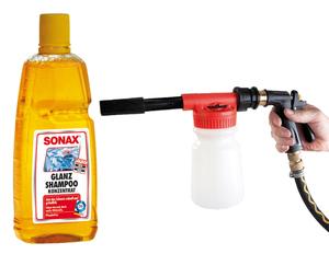 Auto Schaum Pistole + SONAX Autoshampoo, 1 Liter GRATIS
