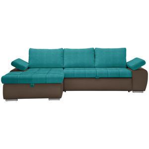 XORA WOHNLANDSCHAFT Flachgewebe Armlehnenkissen, Armteilverstellung, Bettkasten, Rücken echt, Rückenkissen, Schlaffunktion Braun, Blau