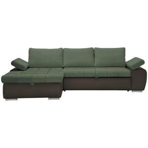 XORA WOHNLANDSCHAFT Flachgewebe Armlehnenkissen, Armteilverstellung, Bettkasten, Rücken echt, Rückenkissen, Schlaffunktion Grün