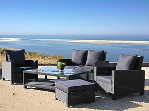 Famous Home Rattan Lounge Tisch 120x80cm Couchtisch  Beistelltisch Schwarz