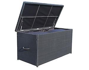 Grasekamp Rattan Kissenbox XXL Auflagenbox  Gartenbox Truhe Lounge - Schwarz