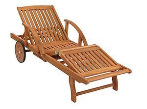 Grasekamp Gartenliege mit Kissen Marine Holz Liege  Sonnenliege Relaxliege Rio Grande