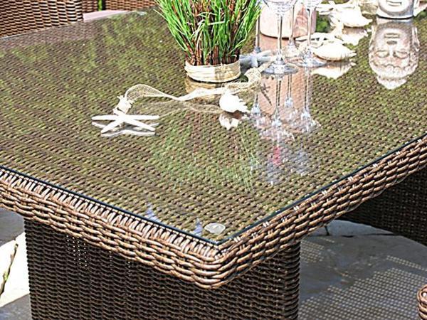 Grasekamp Rattan Tisch Ibiza 180x100cm Mit Glasplatte Polyrattan