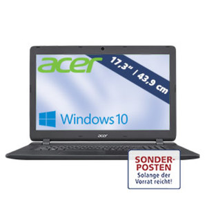 Notebook Aspire ES 17  ES1-732-C730 · HD+ Display · Intel® Celeron® N3450 (bis zu 2,2 GHz) · Intel® HD Graphics 500 · USB 2.0, USB 3.0 · DVD-Brenner
