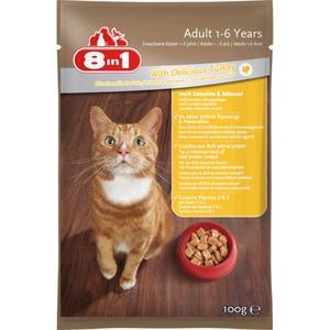 8in1 Nassfutter für erwachsene Katzen mit schmackhafter Pute (24 x 100.00g)