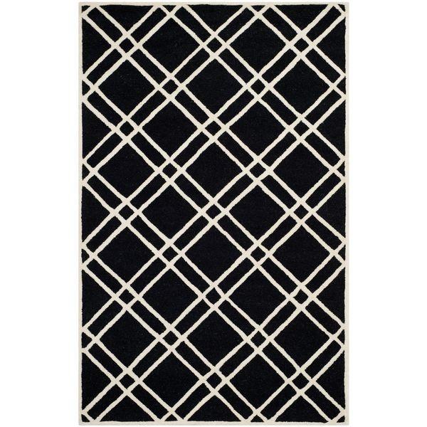 Teppich Mati handgetuftet - Wolle - Schwarz - 152 x 243 cm, Safavieh