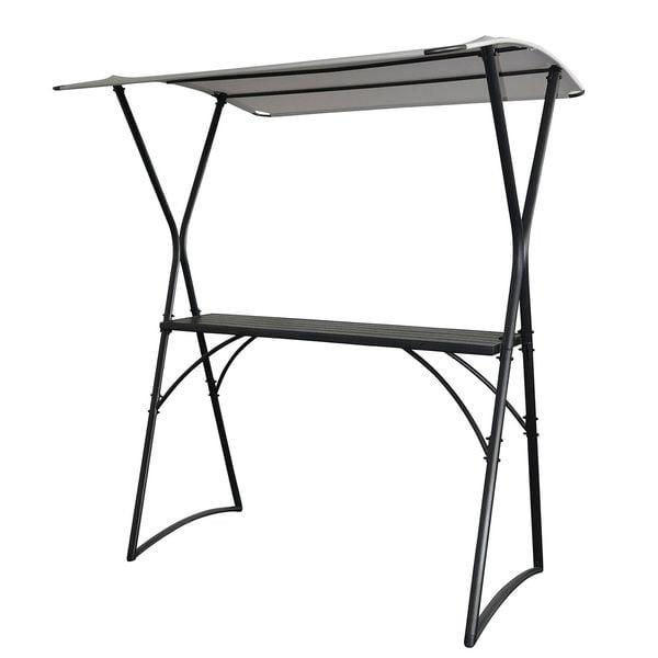 Bartisch Macapo - Webstoff / Stahl - Lichtgrau / Anthrazit, Leco