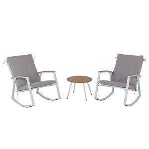 Sitzgruppe Ambiente (3-teilig) - Webstoff / Stahl - Lichtgrau / Weiß, Leco
