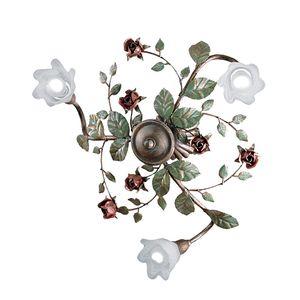 EEK A+, Deckenleuchte Rosaio - Metall/Glas - Bronze/Weiß - 3-flammig, Hans Kögl