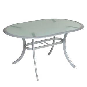 Tisch Carrara - Aluminium/Milchglas, Merxx