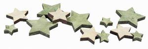 Streudeko Sterne - Holz - grün/braun
