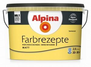 Alpina Farbrezepte Sattes Gelb ,  Sommerzeit, Innenfarbe matt 2,5 l