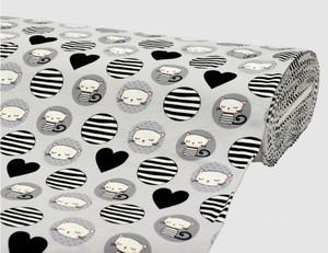 Jerseystoff Kätzchen grau